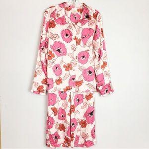 Kate Spade silk floral pajama set pink size 1